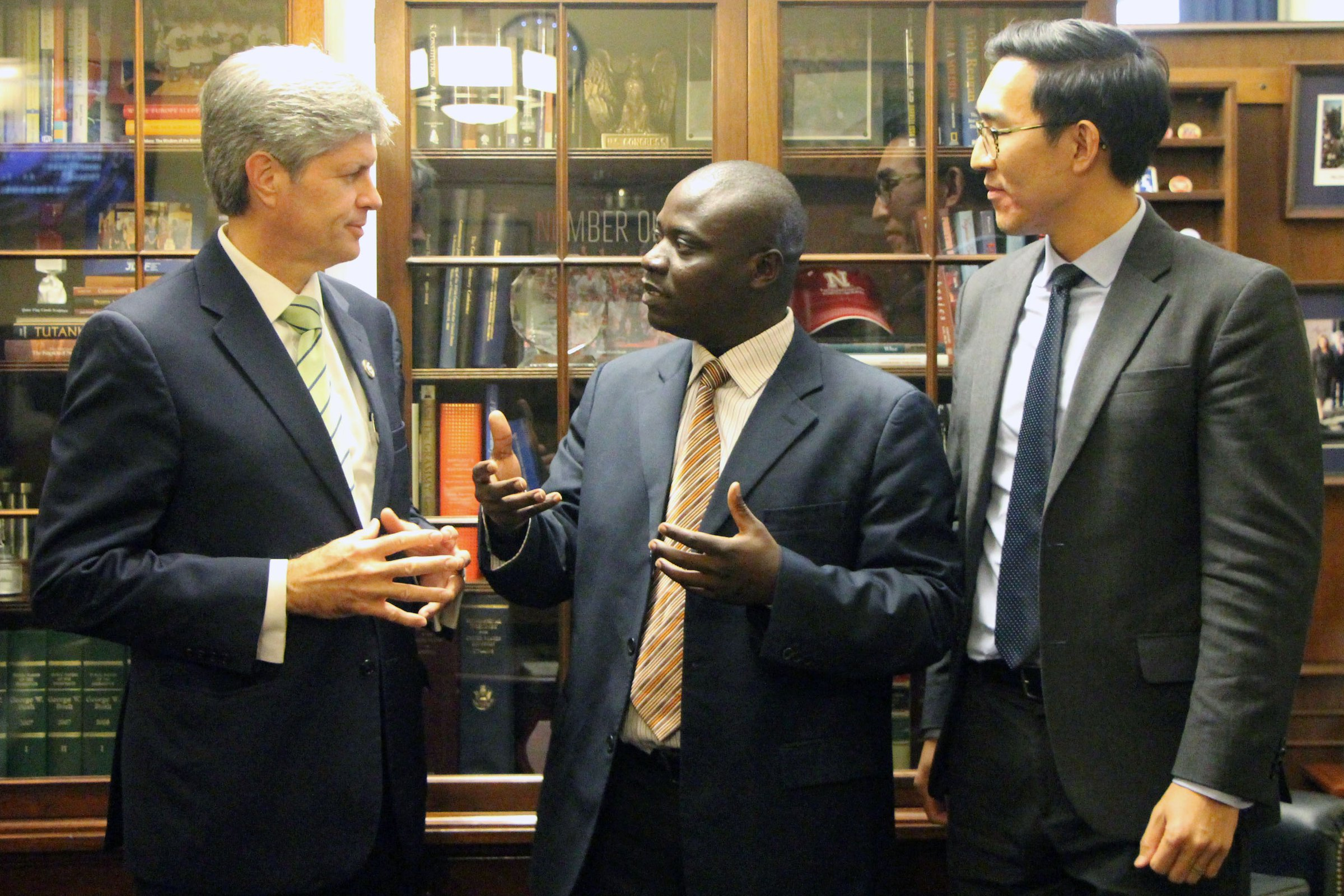 Congressman Fortenberry, Moses Ariong and David Hong