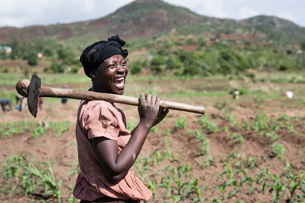 A Kenyan Farmer with a jembe
