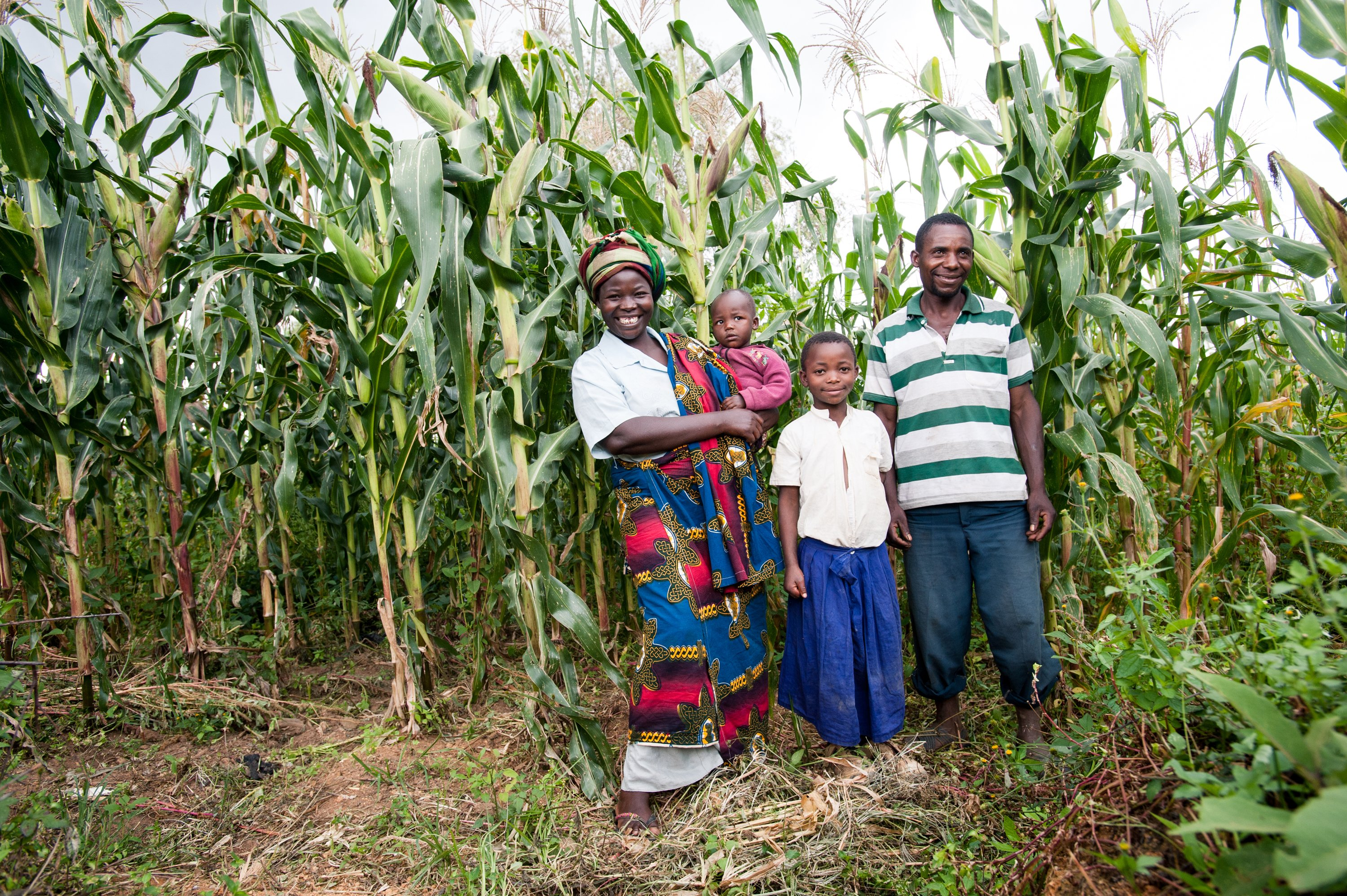 Maria Lume and Joshua Mbwilo with their daughters Ester and Ann in Sadoni, Tanzania