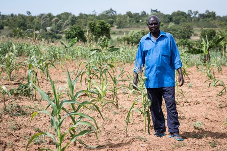 Moses Odoli with his drought-affected farm