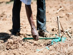 Staff train farmers using a measuring string