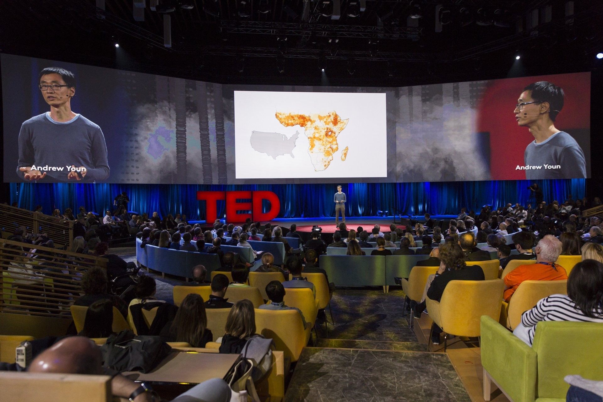 Wide angle shot of Andrew Youn at TED
